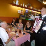 Eddie Paz playing his accordion at the Polonia restaurant.