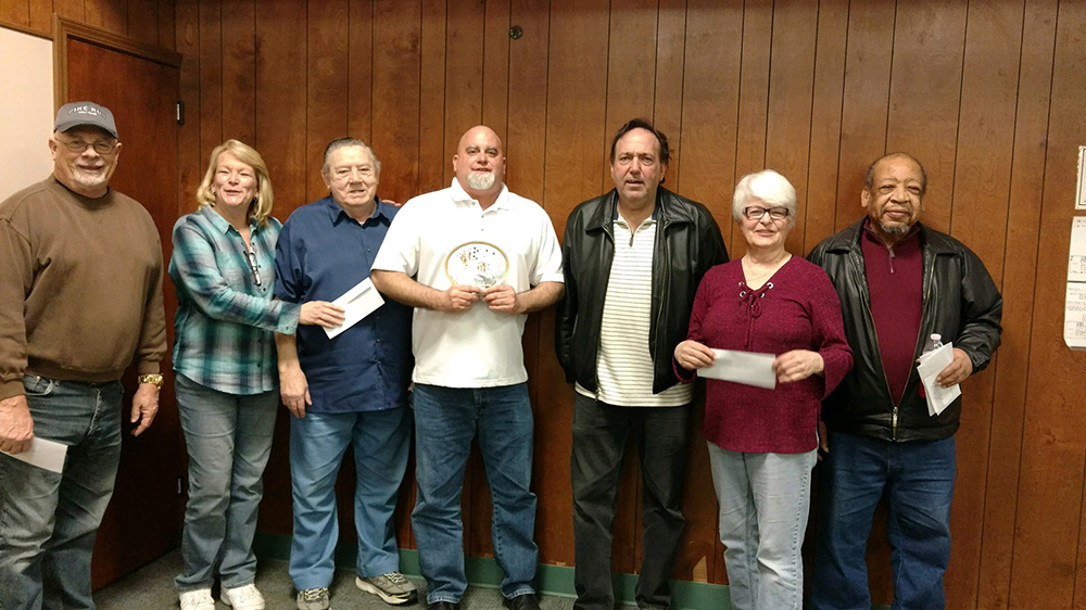 Winners of the 2017-2018 Texas Hold'em Poker Tournament: John Ringger, Cindy Aldrich, Ed Darmofal, Joe Shay, Jeremy Pryba, Lana Angelotti, and rodney Barnett.